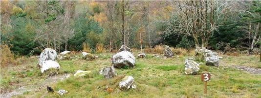Stone Circle & Boulder Burial (Sites 6 & 7 viewed from north)
